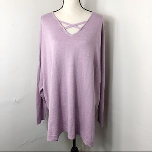 H by Halston Sweaters - H by Halston Purple Crossfront V-Neck Sweater 2X